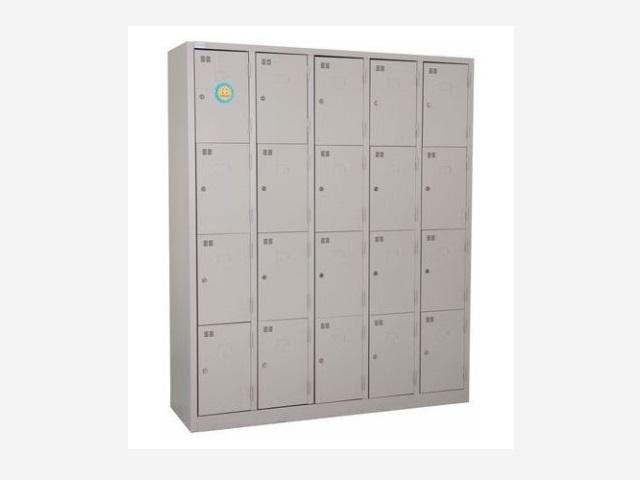 Tủ sắt đa ngăn khóa riêng biệt màu ghi sáng