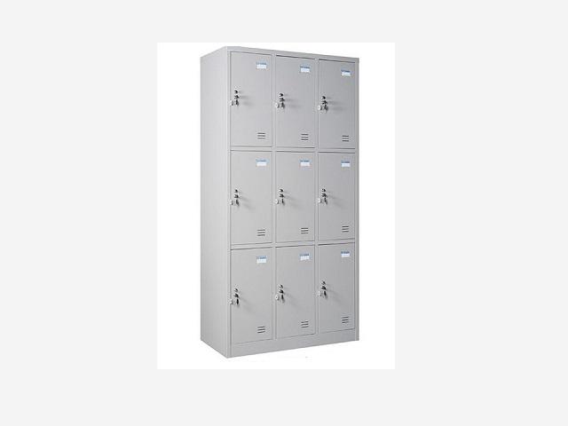 Tủ sắt locker giá rẻ 9 ngăn LK9N-03 khóa riêng biệt.