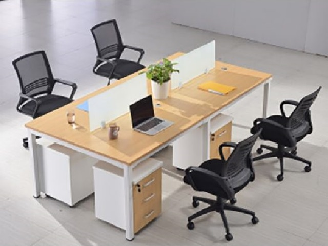 Module bàn làm việc văn phòng màu vân gỗ